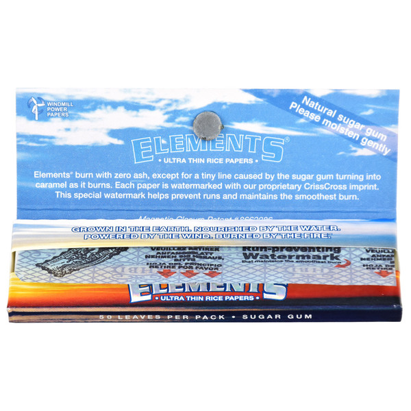 Elements Ultra Rice Rolling Papers Open Booklet - 1 1/4 Inch