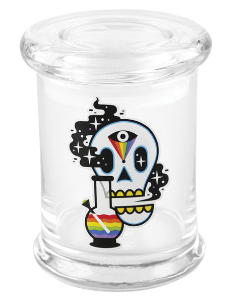 "420 Science Cosmic Skull Pop Top Jar - 4"" / Medium"
