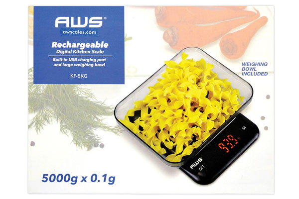 AWS Rechargeable Digital Kitchen Scale - 5000g x 0.1g