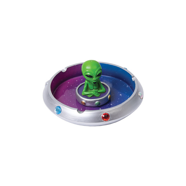 Alien in Flying Saucer Polyresin Ashtray | Wholesale Distributor