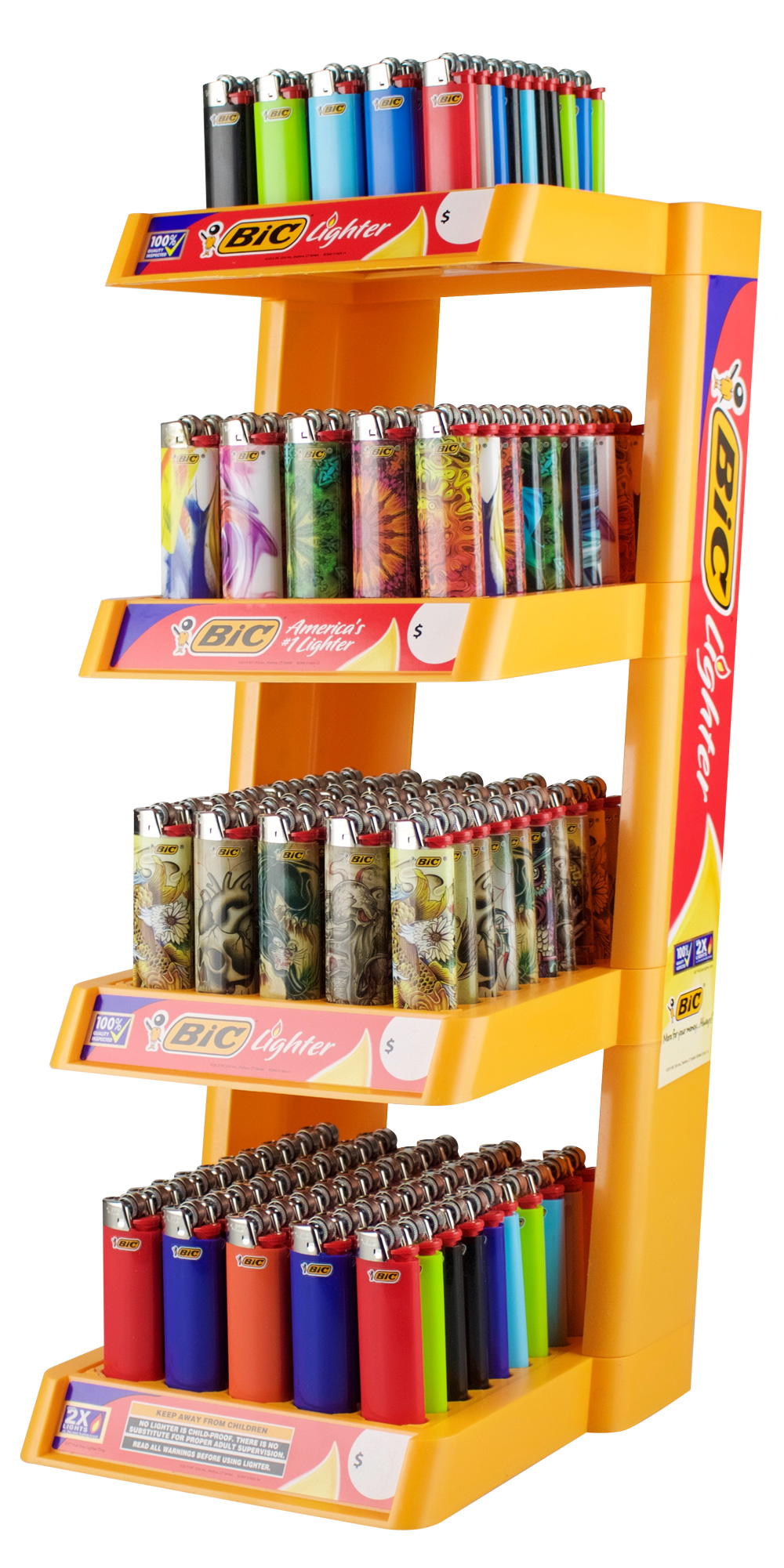 Bic Lighter - 4 Tier + 16 Free Lighters - 200pc Display - AFG Dist