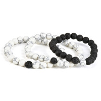 Black & White Lava Stone Bead Bracelet | Wholesale