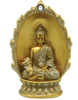 Buddha w/ Oval Backdrop Statuette - Polyresin / 9.75""