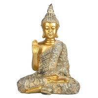 Buddha w/ White Clothes Statuette - Polyresin / 9.5""