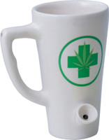 Ceramic Water Pipe Mug - 8oz - White Hemp Leaf - AFG Dist