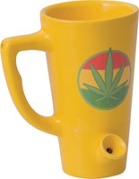 Ceramic Water Pipe Mug - 8oz - Yellow Hemp Leaf - AFG Dist