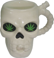 Ceramic White Skull Mug Pipe - 8oz