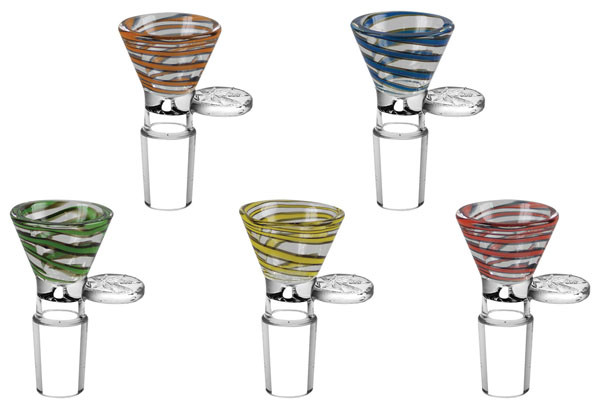 Color Swirl Herb Slide - 19mm Male / Assorted Colors