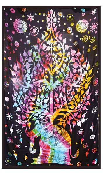 Elephant Tree Tie Dye Tapestry - 54x86 - AFG Distribution