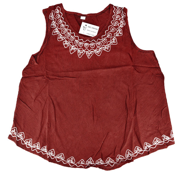 Embroidered Rayon Sleeveless Top | Wholesale Distributor