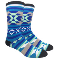 FineFit Patterned Socks | Southwest | Blue | Wholesale