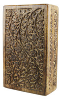 Floral Carved Wood Stash Box - 10x6 - AFG Distribution