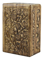 Floral Carved Wood Stash Box - 6x4 - AFG Distribution