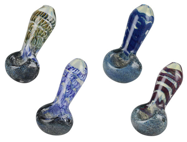 Frit & Cord Worked Spoon Hand Pipe - 3.25 - AFG Distribution