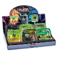 Fujima Hemp Themed Square Glass Ashtray | Wholesale