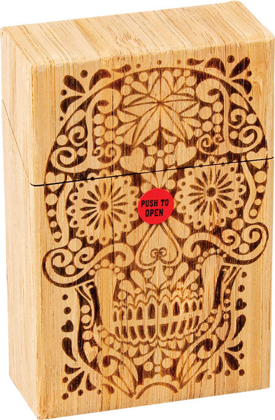 Fujima Wood Sugar Skull Cigarette Case - Kingsize | 12pc
