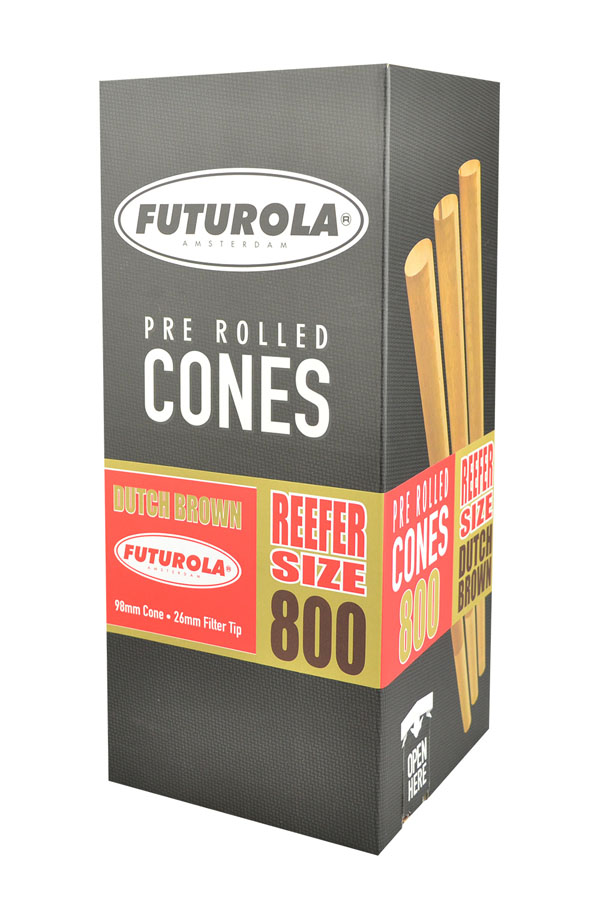 Futurola Reefer Size Cones - 800pc Box | Brown