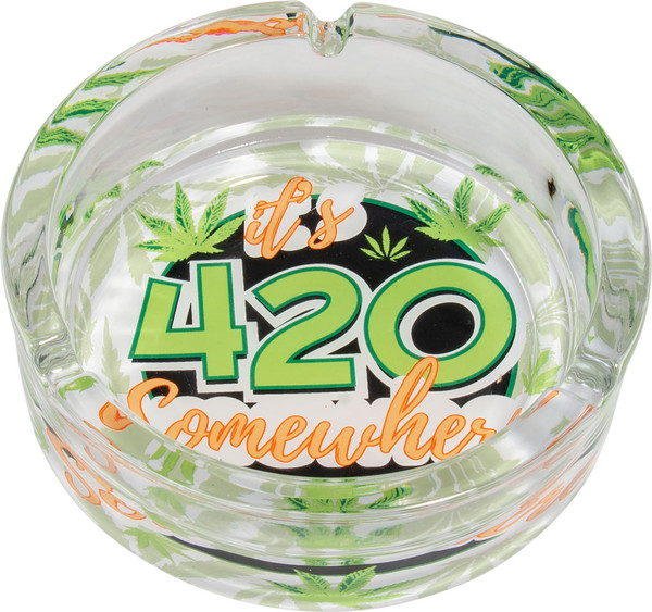 Glass 420 Somewhere Ashtray - 6.25"