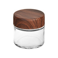 Glass Storage Jar w/ Wood Grain Design Childproof Lid | 70mL