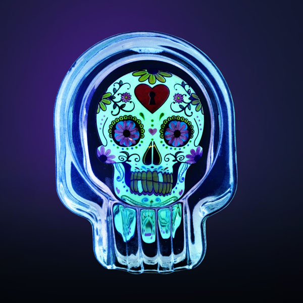 "Glow Sugar Skull Glass Ashtray - 2.75""x3.75"" 