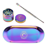 Green Monkey Rainbow Finish Rolling Tray & Grinder Kit | Wholesale