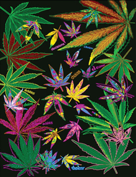 "Hemp Leaf Collage Fleece Blanket - 76"" x 92"""