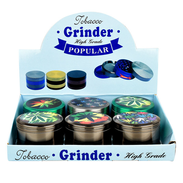Hemp Leaf Colored Metal Grinder | Wholesale Distributor