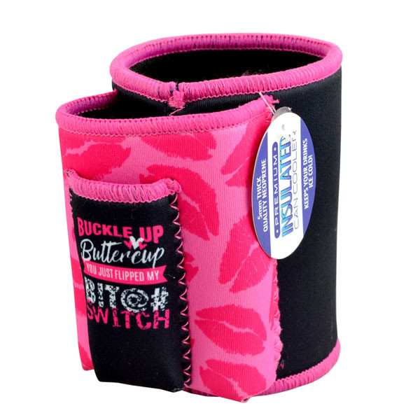 Insulated Can Cooler w/ Cig Pouch