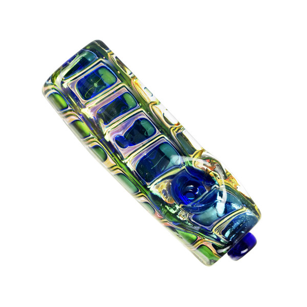Iridescent Jewel Squared Glass Hand Pipe | Wholesale Distribution