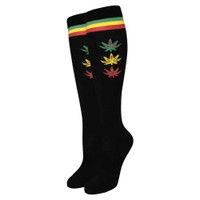 Julietta Rasta Leaves & Stripes Knee High Socks | Black | Wholesale