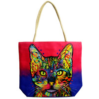 Jute Rope Handled Tote Bag | Psychedelic Cat | Master Distributor