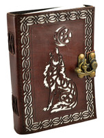 "Leather Journal w/ Clasp - Celtic Wolf | 5""x7"""
