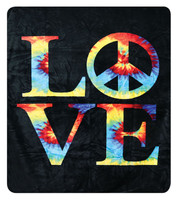 "Love Tie Dye Fleece Blanket - 79"" x 94"""
