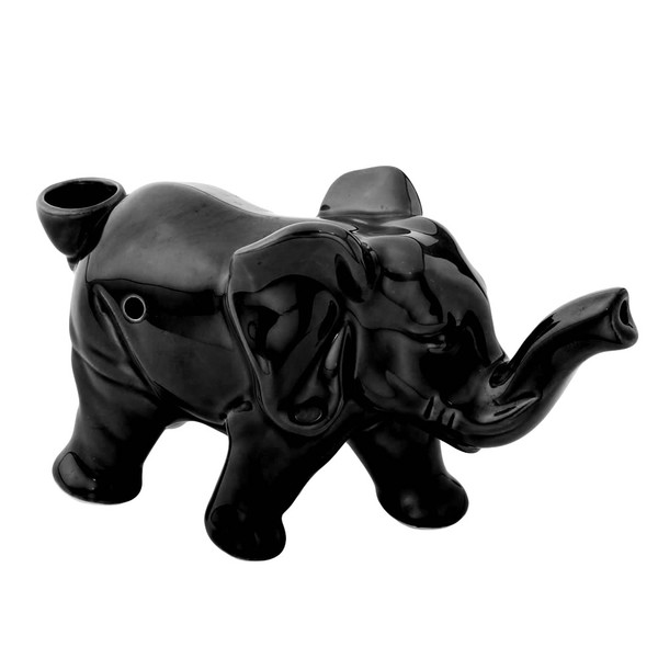 Lucky Elephant Ceramic Pipe | Black | Wholesale Distributor