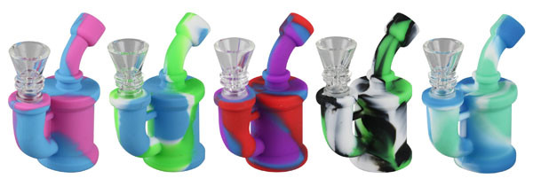 Mini Silicone Waterpipe - 3.5 Inches / 14mm F / Asst. Colors - AFG Dist