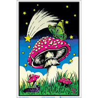 Mushroom Butterflies Blacklight Poster | Wholesale Distributor