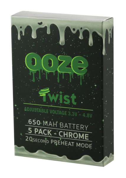 "Ooze Adjustable Twist Batteries - 4.25""/ 650mAh/Chrome / 5pc"