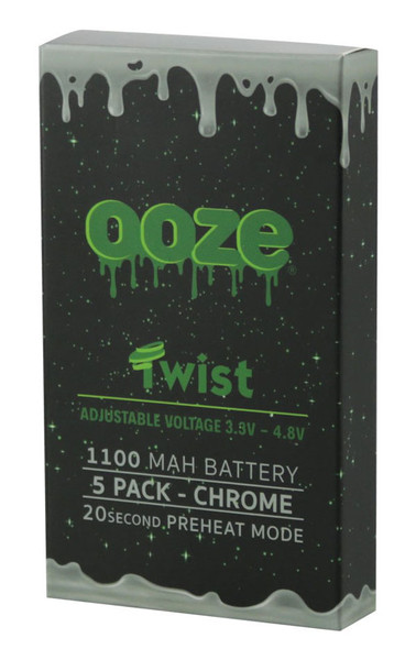 "Ooze Adjustable Twist Batteries - 5"" / 1100mAh / Chrome"