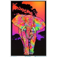 Painted Elephant Flocked Blacklight Poster | Wholesale Distributor
