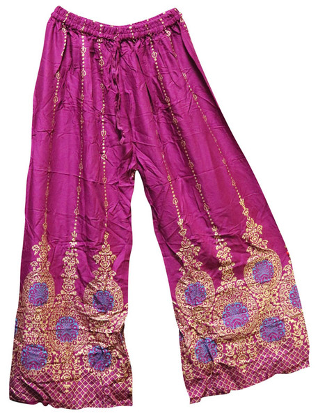 Palazzo Pants w/ Gold Print - 37 Inch / Asst. Colors - AFG Dist