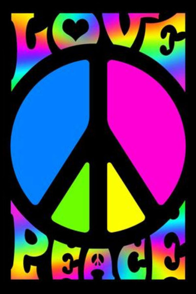 "Peace & Love Retro Blacklight Poster - 23""x35"""