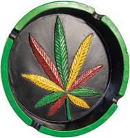 Polyresin Rasta Hemp Leaf Round Ashtray - 6""