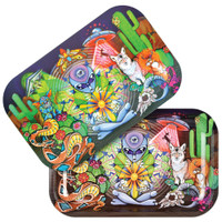 Pulsar Metal Rolling Tray w/ Lid | Psychedelic Desert | Wholesale