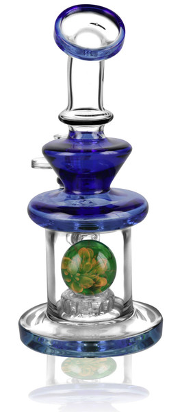Pulsar Teardrop Waterpipe w/ Marble - 7.5 Inches / 14mm F / Asst - AFG Dist