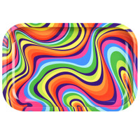 Rainbow Swirl Metal Rolling Tray | Wholesale Distributor
