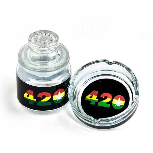 Rasta Ashtray & Stash Jar Set | 420 Design | Wholesale Distributor