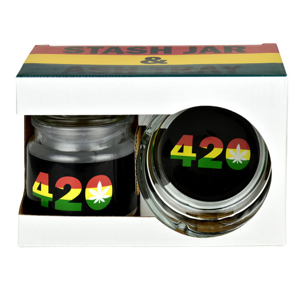 Rasta Ashtray & Stash Jar Set - 420 Design | Wholesale Distributor