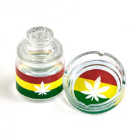 Rasta Ashtray and Stash Jar Set | Hemp Leaf | Wholesale Distributor