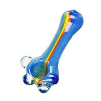 Rasta Stripe Glass Hand Pipe with Marbles | Wholesale
