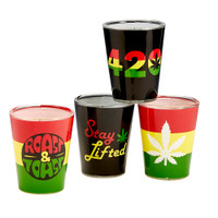 Rasta Theme Shot Glass Set | 4 Units | Master Distributor
